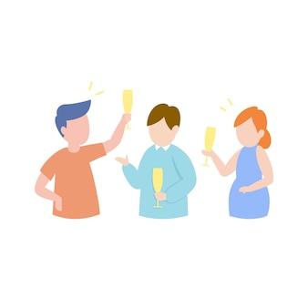 Heureux amis ayant le concept de parti