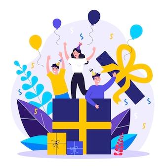 Heureux amis faisant une surprise pour la fête d'anniversaire