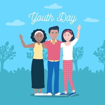 Heureux amis de la journée de la jeunesse ensemble