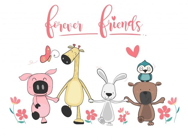 Heureux animaux mignons ami tenant la main et marcher ensemble