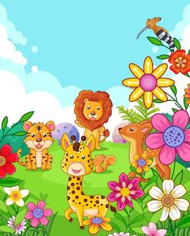 Heureux animaux mignons avec des fleurs jouant dans le jardin