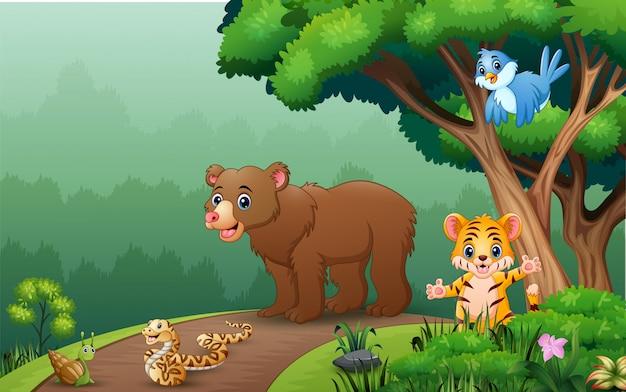 Heureux animaux sauvages marchant sur la route