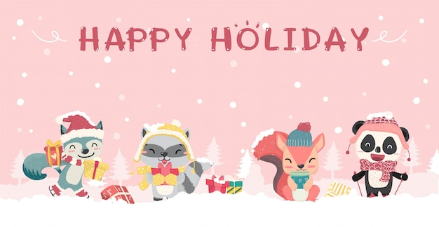 Heureux animaux sauvages mignons en dessin animé plat de costume de noël hiver, idée de bannière