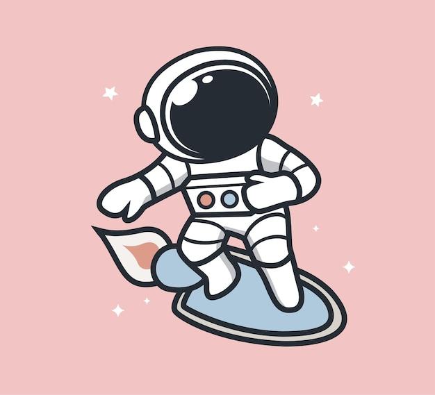 Heureux astronaute volant dans l'espace
