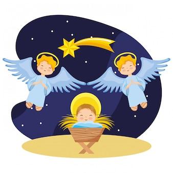 Heureux bébé jésus dessin animé avec des anges dans la nuit