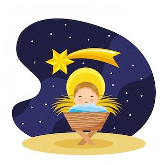 Heureux bébé jésus dessin animé dans la nuit