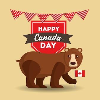 Heureux, canada, jour, grizzly, tenue, drapeau