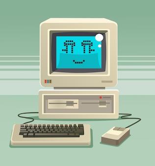 Heureux caractère vieux ordinateur souriant