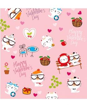 Heureux chat saint valentin
