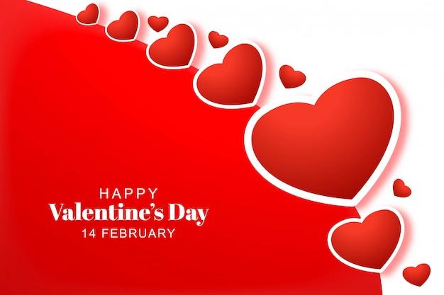 Heureux coeurs de saint valentin avec carte de vœux