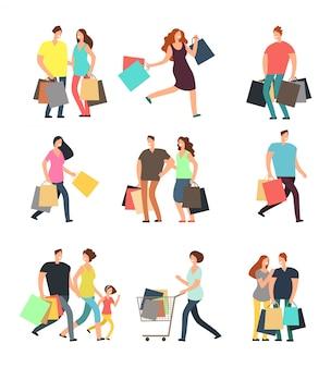 Heureux commerçants. homme, femme et acheteurs avec des coffrets cadeaux et des sacs à provisions. jeu de personnages de dessin animé de vecteur
