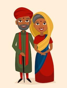Heureux couple d'âge moyen indien isolé