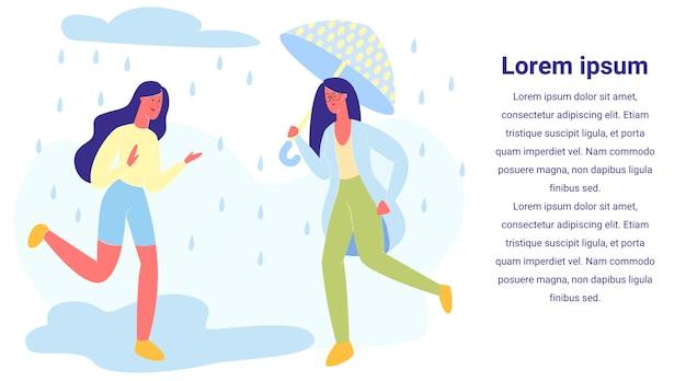 Heureux couple d'amis fille marche par temps pluvieux