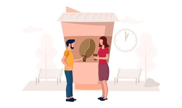 Heureux couple buvant du café à emporter ensemble, illustration vectorielle plane. personnages masculins et féminins collègues gens d'affaires, amis en pause. l'heure du café.