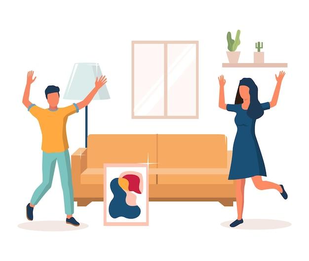 Heureux couple célébrant la pendaison de crémaillère ensemble après avoir déménagé dans une nouvelle illustration vectorielle à domicile