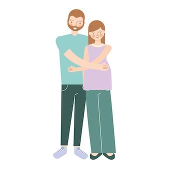 Heureux couple étreindre et attendre l'illustration de bébé