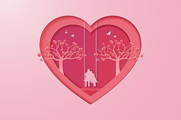 Heureux couple d'illustration de la saint-valentin amour et style de coupe de papier arbre.