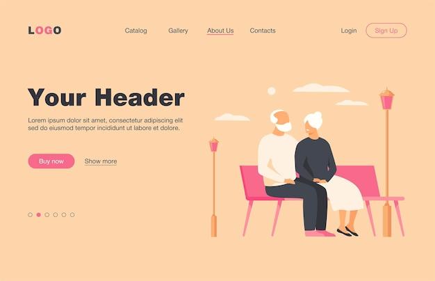 Heureux couple de personnes âgées assis sur un banc dans le parc isolé page de destination plate. dessin animé de vieux personnages se détendre ensemble sur la nature. concept de famille et de retraite
