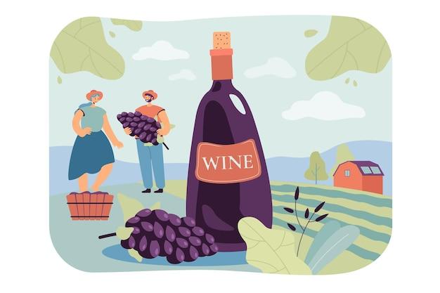 Heureux couple produisant du vin naturel illustration plate isolée