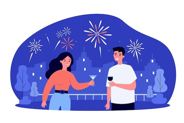 Heureux couple regardant les feux d'artifice et boire du vin. verre, date, illustration plat de vacances. concept de relation et de célébration
