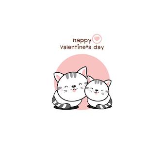 Heureux couple saint valentin amour dessin animé chat.
