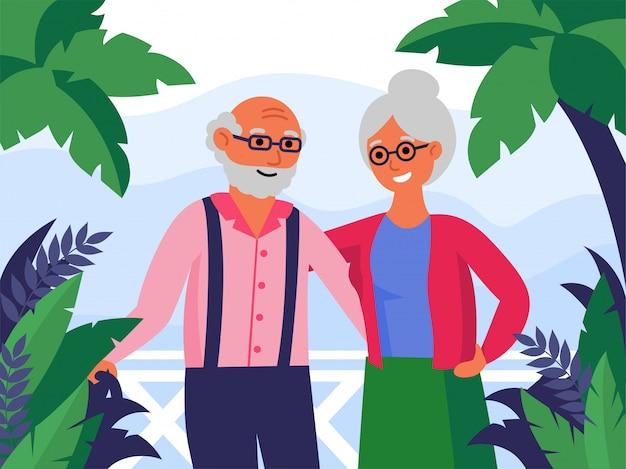 Heureux, couples aînés, debout, ensemble, et, étreindre