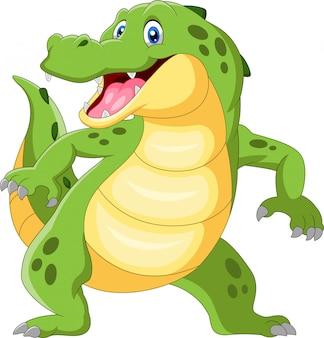 Heureux crocodile debout et agitant la main