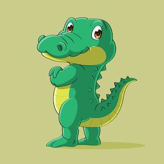 Heureux crocodile debout dessiné à la main