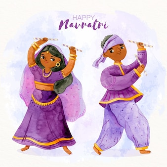 Heureux danseurs navratri dandiya