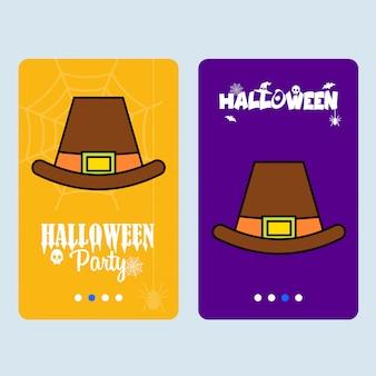 Heureux design invitation halloween avec vecteur de chapeau