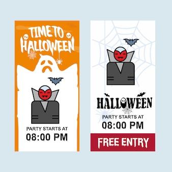 Heureux design invitation halloween avec vecteur fantôme