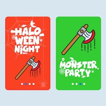 Heureux design invitation halloween avec vecteur de hache