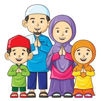 Heureux dessin animé famille musulmane