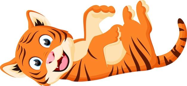 Heureux, dessin animé, tigre, jouer