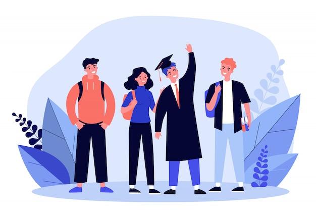 Heureux diplômé de l'école ou du collège