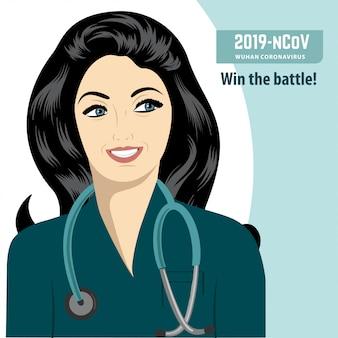 Heureux docteur qui a vaincu dans la bataille contre le coronavirus. covid-19.