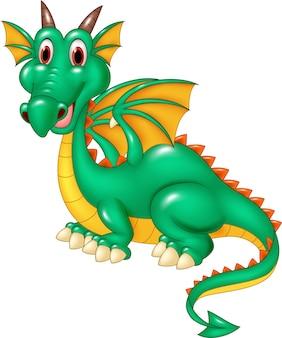 Heureux dragon vert assis