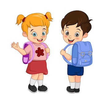 Heureux écolier et fille avec sac à dos