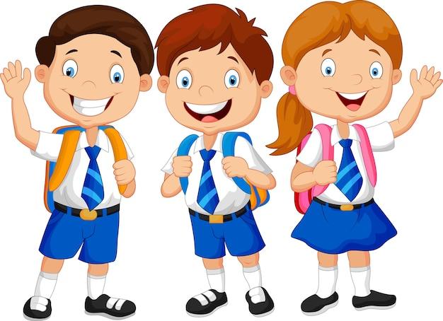 Heureux écoliers agitant la main