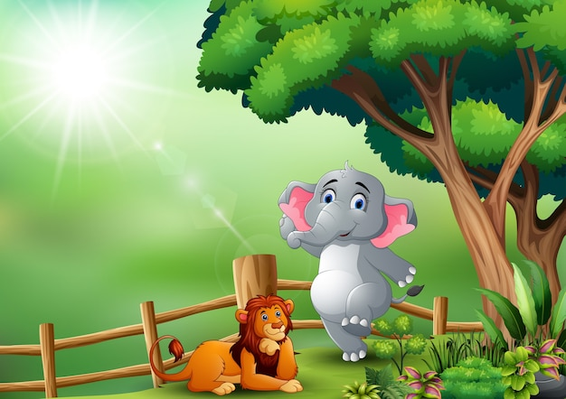 Heureux éléphant et lion dans la jungle