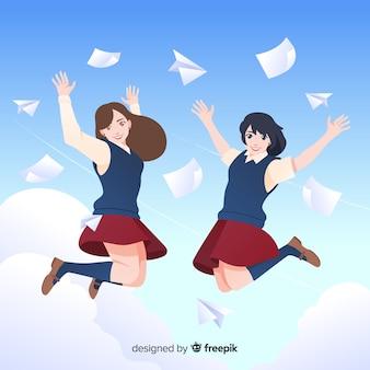 Heureux élèves sautant avec un design plat