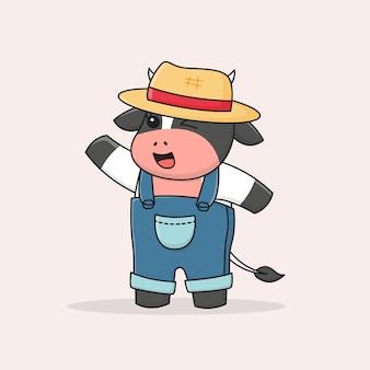 Heureux éleveur de vaches