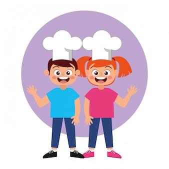 Heureux enfant chef souriant vecteur de dessin animé