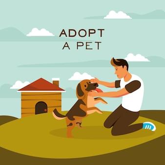 Heureux enfant et chien adopté