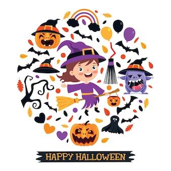Heureux enfant drôle célébrant halloween
