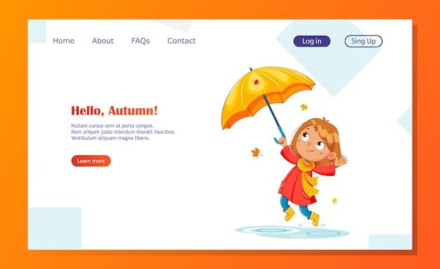 Heureux enfant drôle dans un imperméable rad et des bottes en caoutchouc, automne pluvieux. personnage de dessin animé de fille joyeuse