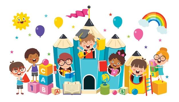 Heureux enfant étudiant et apprenant