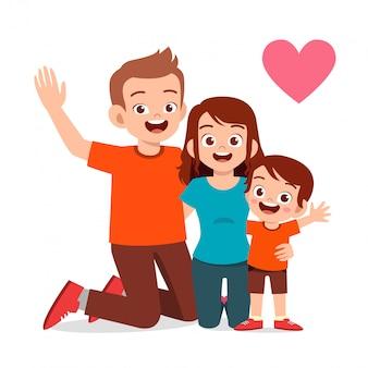Heureux enfant mignon garçon et fille avec maman et papa
