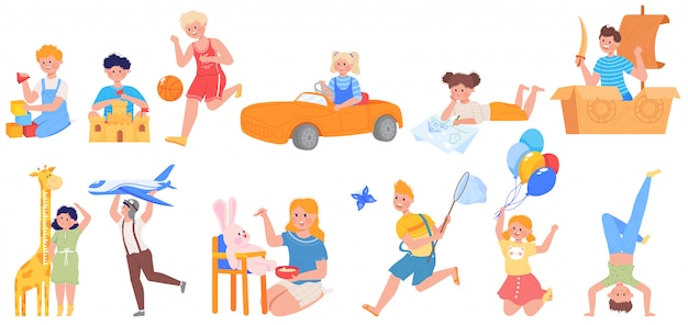 Heureux enfants actifs jouent ensemble d'illustration, personnage de dessin animé drôle enfant jouant au football, jouer avec des jouets dans l'aire de jeux
