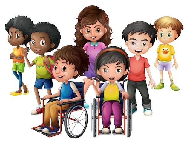 Heureux enfants debout et en fauteuil roulant